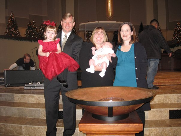 Baptizing Hunter (I'm 6 months pregnant with Drew here)